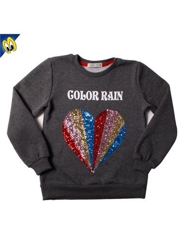 Toontoy Kids Toontoy Kız Çocuk Sweatshirt Color Rain Pullu Kalp Nakış - Antrasit Melanj - 12 Yaş - 152Cm Boy Renkli